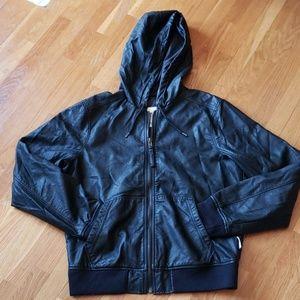NWOT$158 HOLLISTER Black Leather Bomber Jacket XL